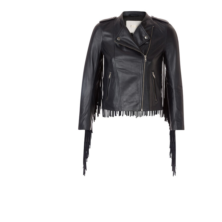 Lambskin leather jacket with fringes  : On the road color