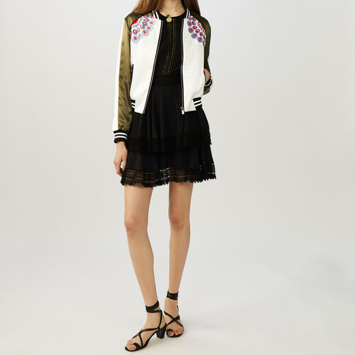 Embroidered satin bomber jacket : Coats & Jackets color Khaki