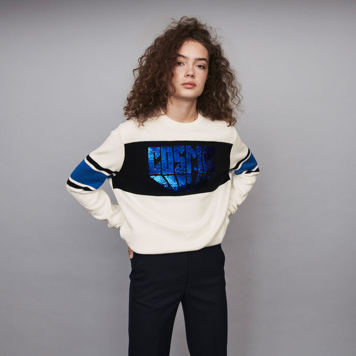 Sequin sweater with contrasting details : Sweaters color Ecru