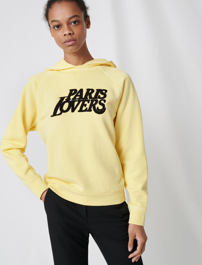 Embroidered yellow sweatshirt - Sweaters - MAJE