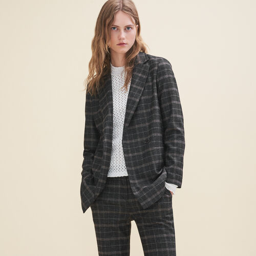 Long tartan jacket : Coats & Jackets color Jacquard
