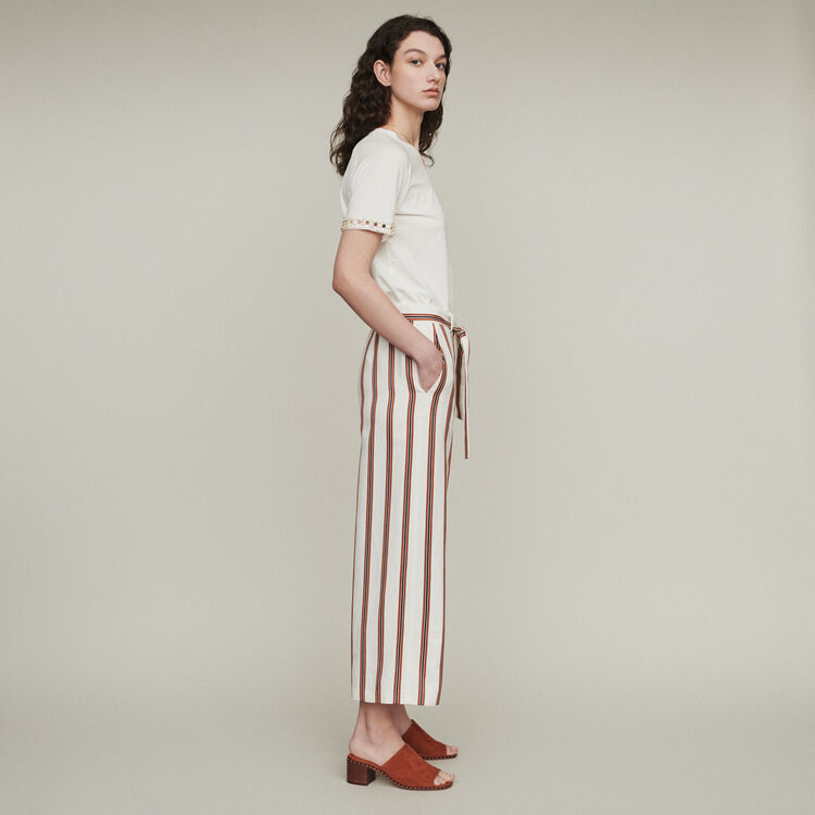 Wide striped pants with belt : Pants & Jeans color Stripe