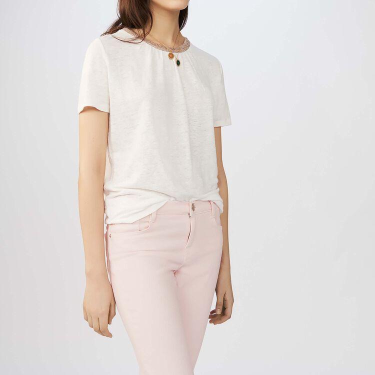 Linen t-shirt with crochet collar : Tops & Shirts color Black 210