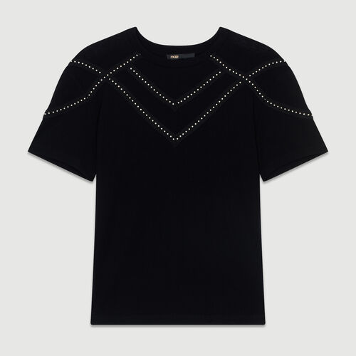 Studded Tshirt : The Spring Essentials color Black 210