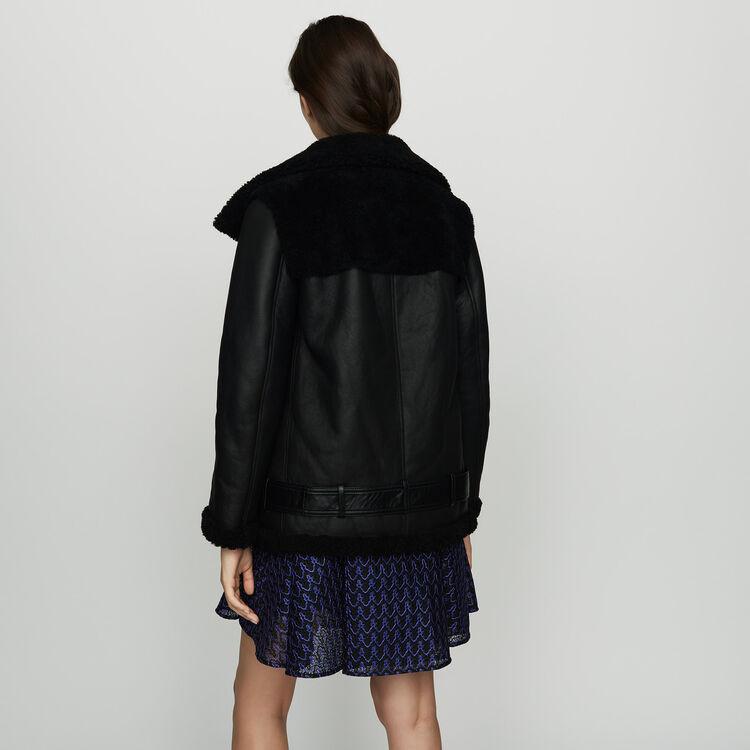 Biker jacket in shearling : Coats & Jackets color Black 210