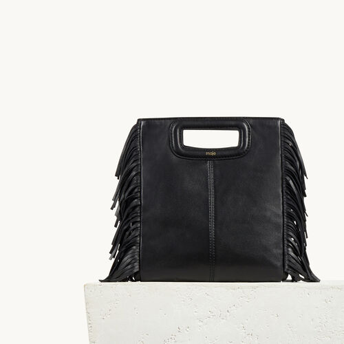 Leather bag with fringing : The M Bag color Black 210