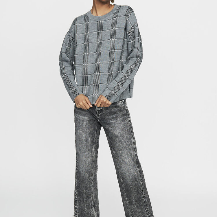Oversized sweater in jacquard knit : Sweaters color CARREAUX