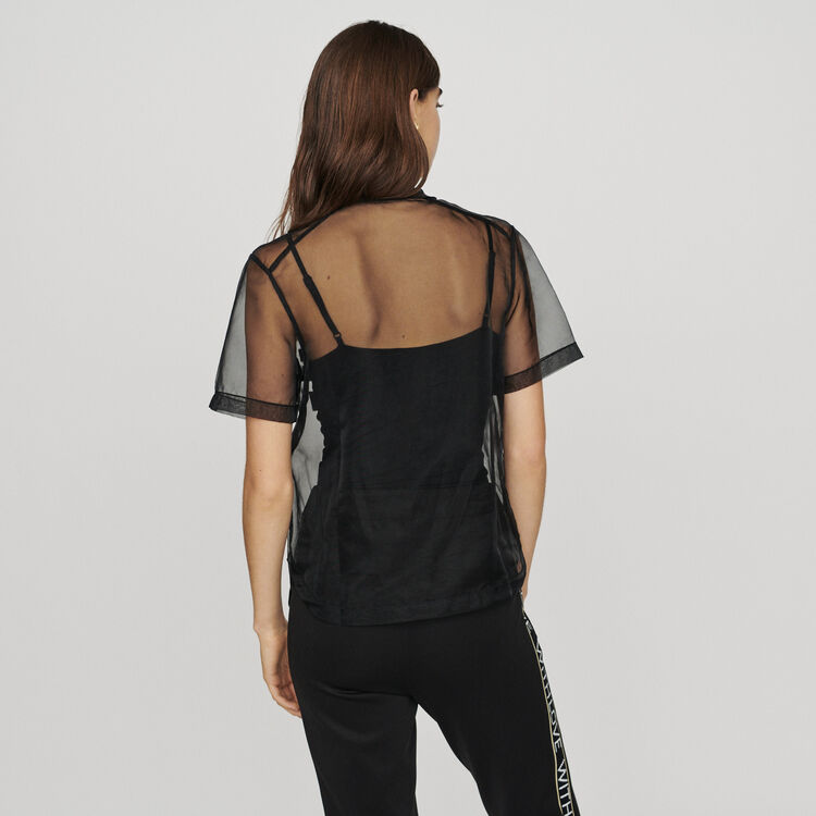 Organza top with slogan : Tops & T-Shirts color Black 210