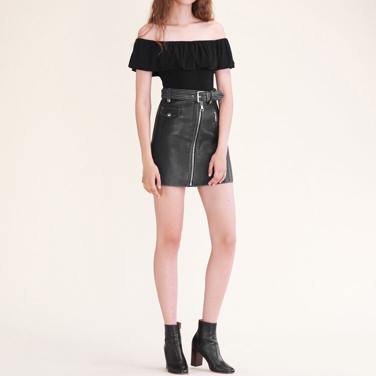 Sleeveless frilled body suit : Tops & Shirts color Black 210