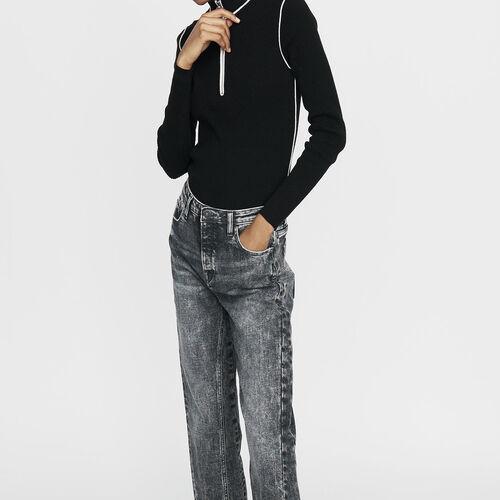 Trucker-collared sweater in fine knit : Sweaters color Black 210
