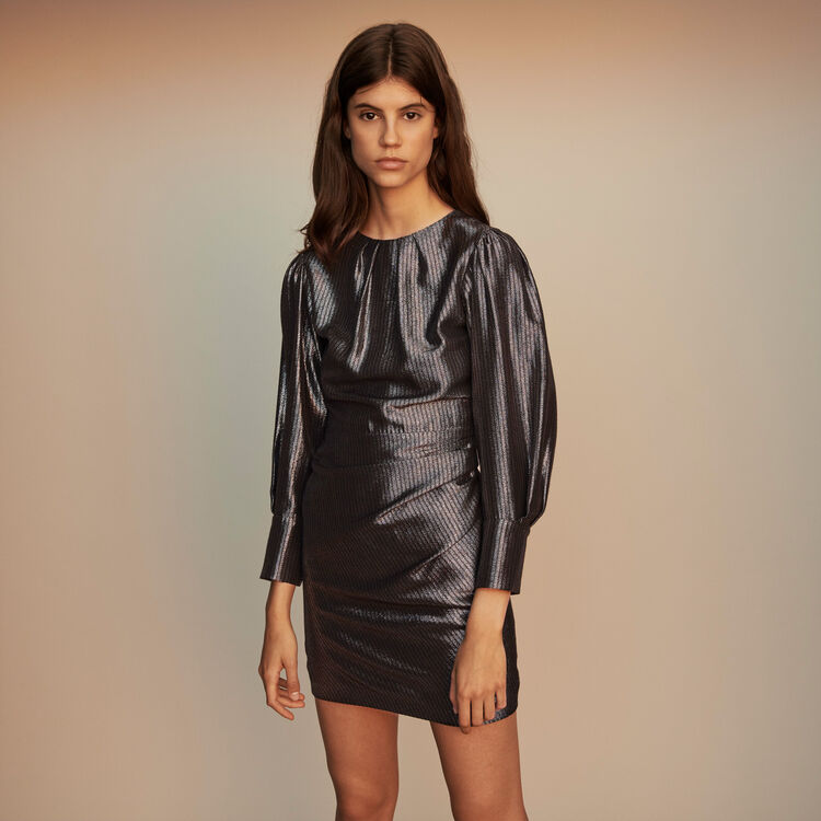 Yoke dress in Lurex : Dresses color Silver