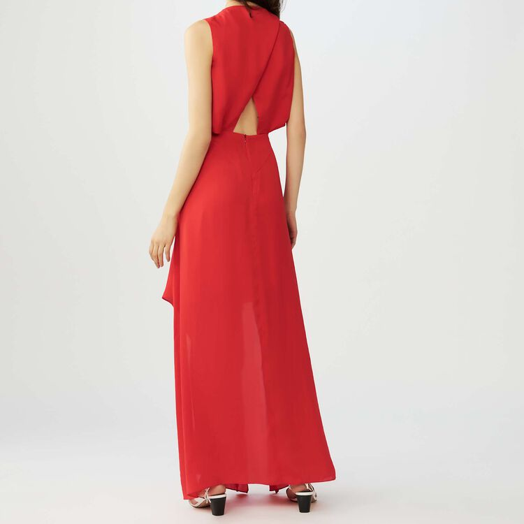 Maxi dress with flounce detail : Workwear color Red