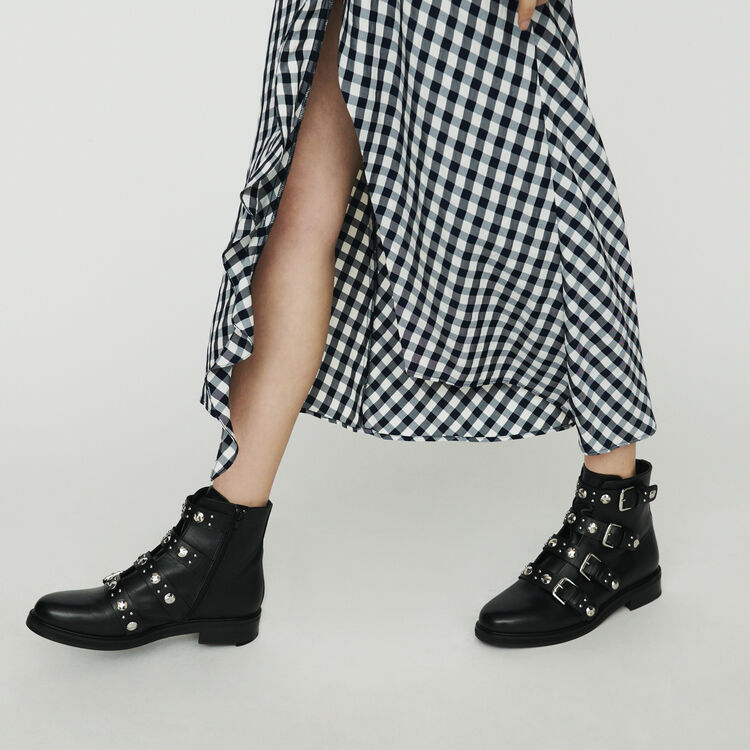 Skirt with gingham print : Skirts & Shorts color CARREAUX