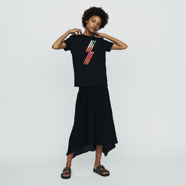 Silkscreen embroidered T-shirt : Tops & T-Shirts color Black 210