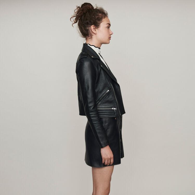 Lambskin leather jacket : Coats & Jackets color Black