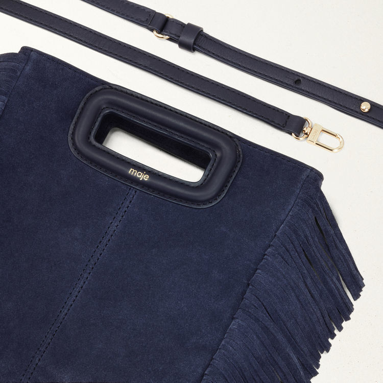 M bag with suede fringes : M Bags color Navy