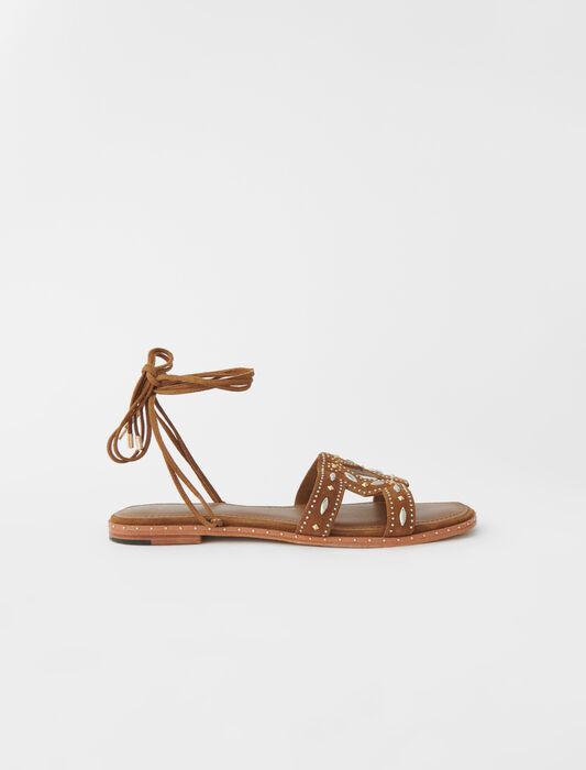 Sandales plates à nouer avec studs : Sandals color Caramel