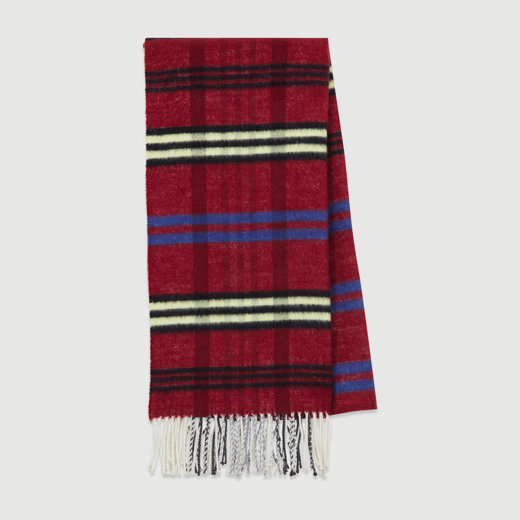 Plaid knit scarf : Other Accessories color Burgundy