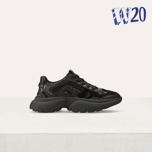 W20 Urban leather sneakers : Shoes color Black 210
