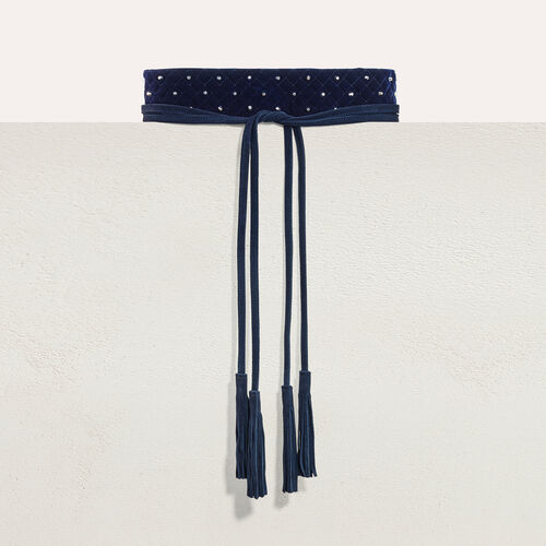 Wide tie belt with studs : Shoes & Accessories color Navy