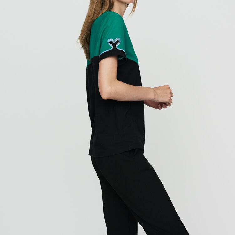 Bicolor cotton embroidered T-shirt : Tops & T-Shirts color Multico