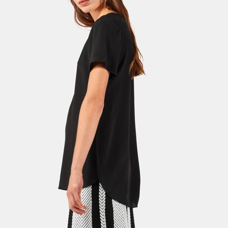 Silk top with intricate detailing : Tops & T-Shirts color Black 210