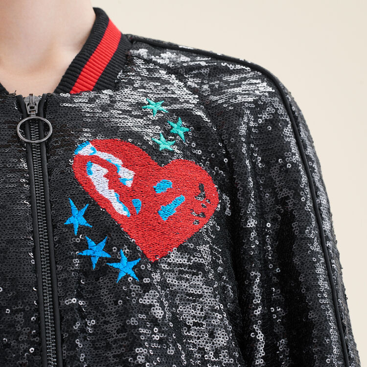 Sequin varsity jacket : Sweaters color Black 210