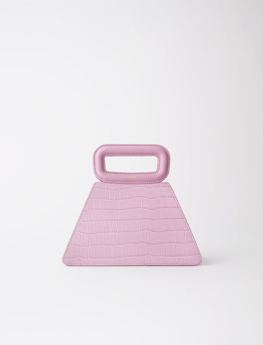 Embossed leather pyramid handle bag : Medium Bags color Sugared pink