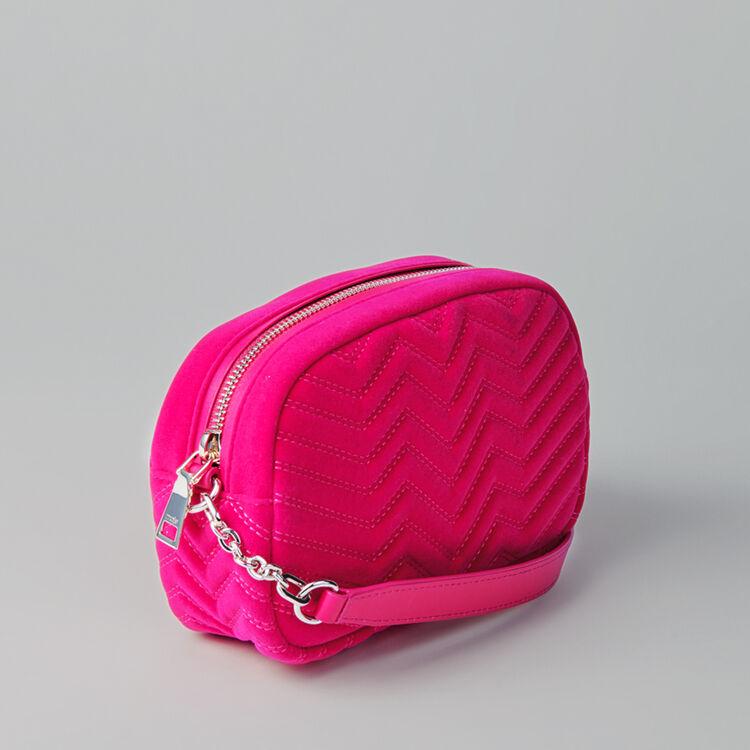 Quilted velvet shoulder bag : Camera Bag color Pink