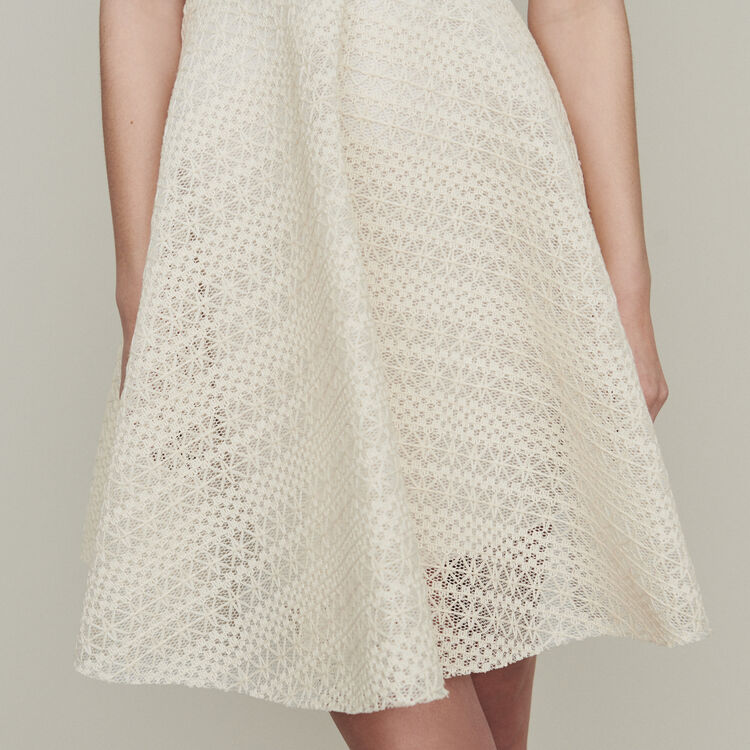Sleeveless dress in basket knit : Dresses color Ecru