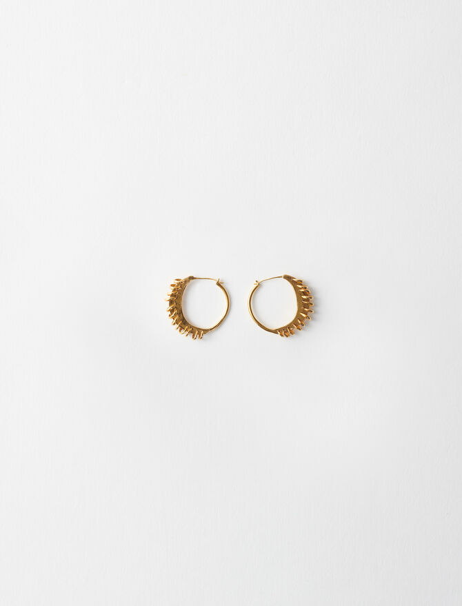 Gold-plated small earrings with rings -  - MAJE