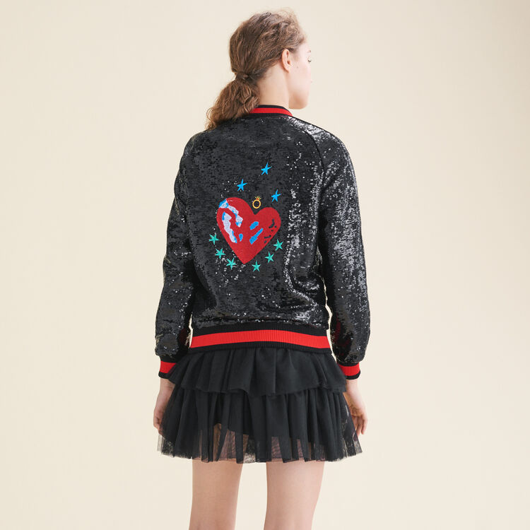 Sequin varsity jacket : null color