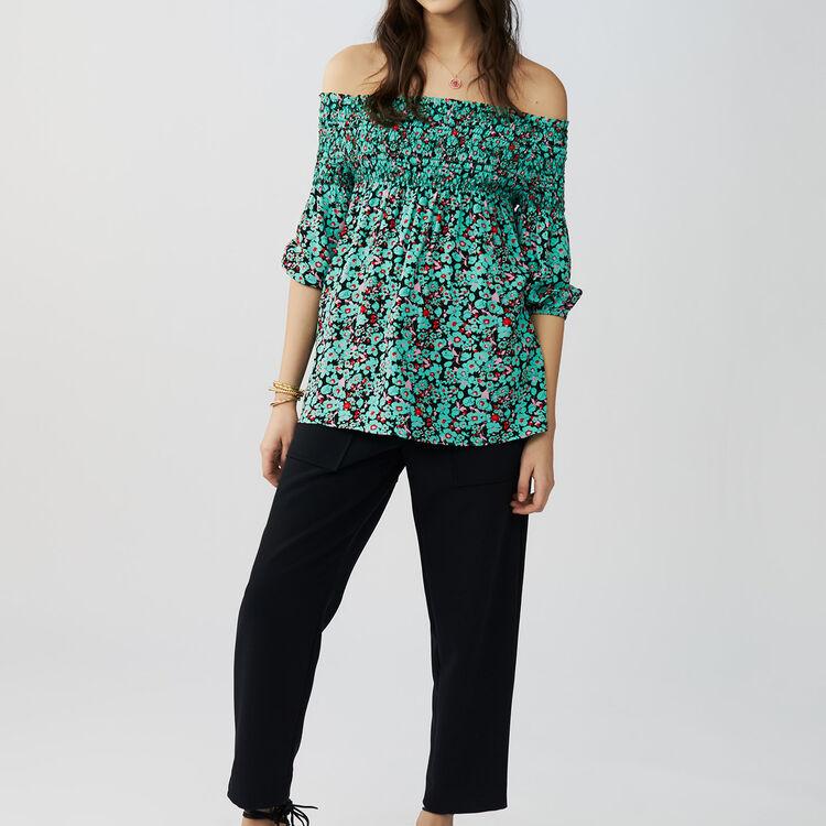 Printed cold-shoulder top : Tops & T-Shirts color PRINTED