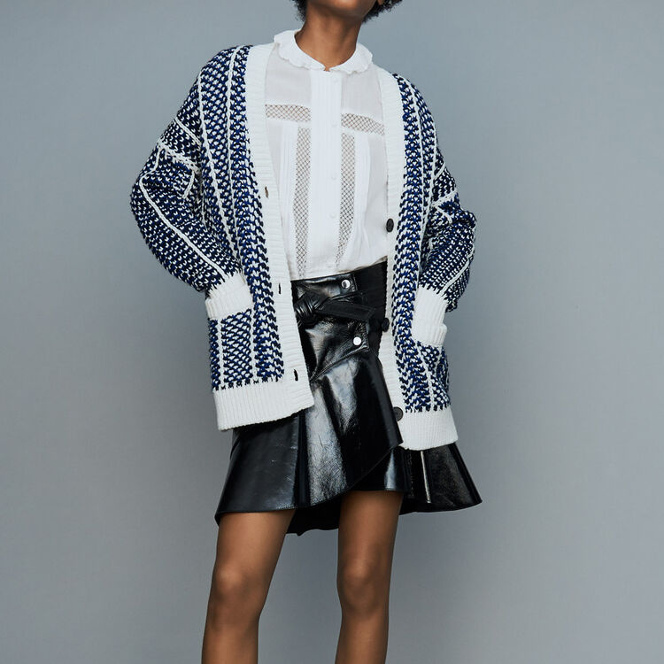 Oversize jacket in jacquard knit : Sweaters color Blue