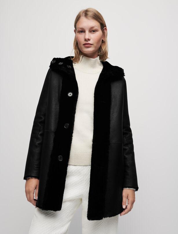 마쥬 MAJE Reversible shearling coat,Black