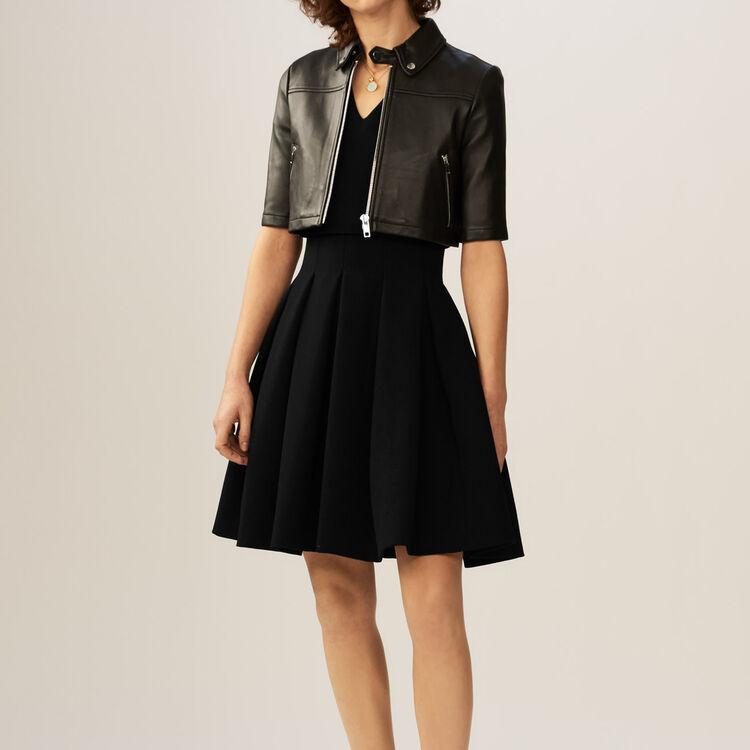 Cropped leather jacket : Coats & Jackets color Black 210