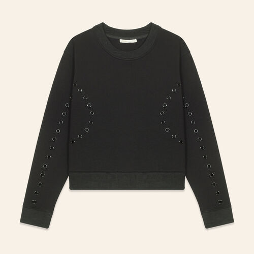 Sweatshirt with eyelets : Majexclusive color Black 210