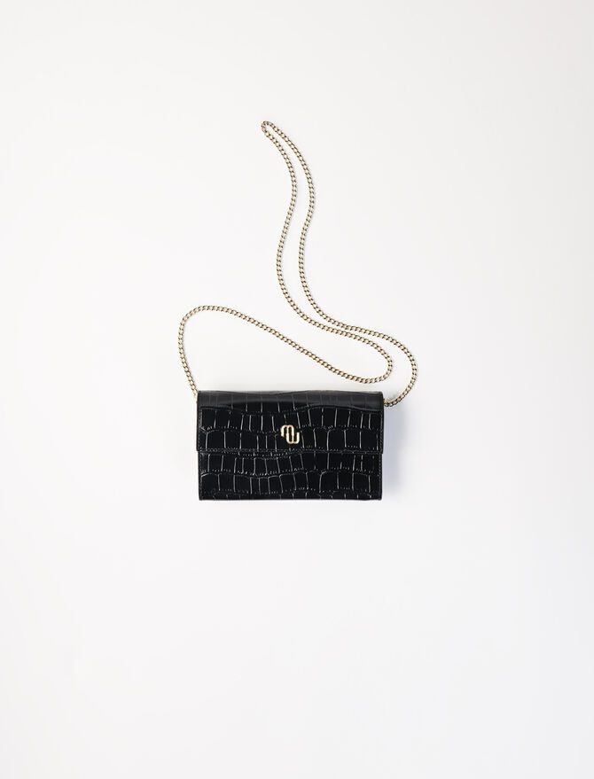 Crocodile wallet with chain - Small Leather Goods - MAJE