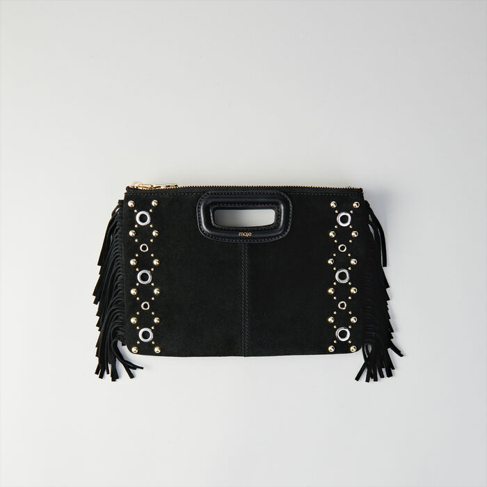 Suede M Duo purse with eyelets : M Duo color Black