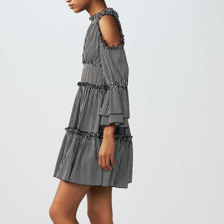 Striped cold-shoulder dress : Dresses color Stripe