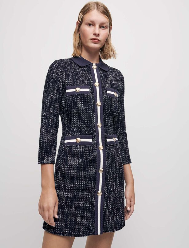 Maje Tweed-style dress with contrasting bands