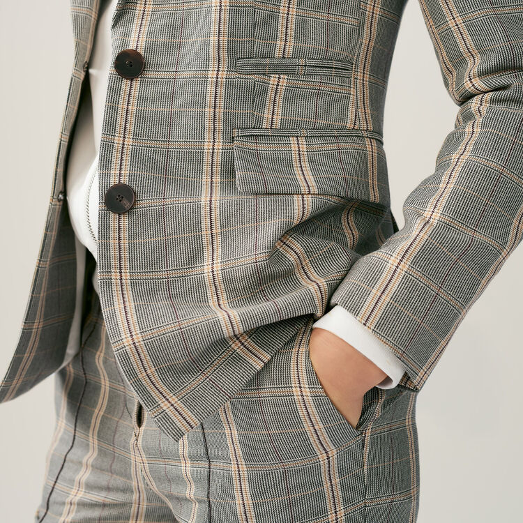 Bold shoulder jacket with check print : Coats & Jackets color CARREAUX