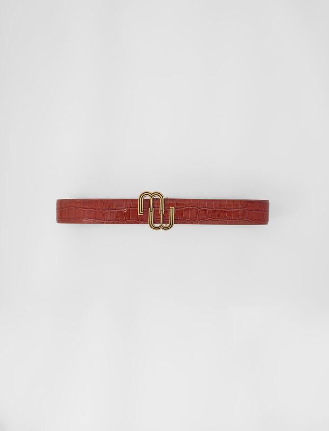 Croc-effect leather double M belt - Belts - MAJE