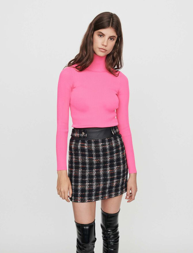 Tweed -style contrast pencil skirt - Skirts & Shorts - MAJE