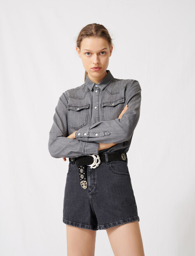 Trompe-l'œil-effect playsuit in denim - Jumpsuits & Rompers - MAJE