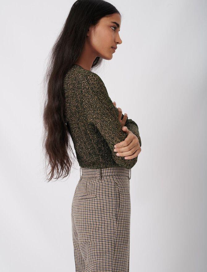 Low-cut lurex knit sweater -  - MAJE