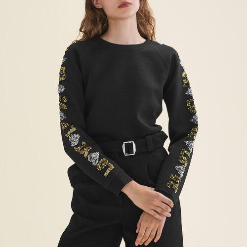 Neoprene-look sweatshirt with sequins : Sweaters color Black 210