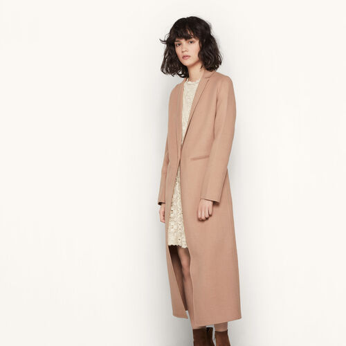 Long double-sided wool coat : See All color Camel