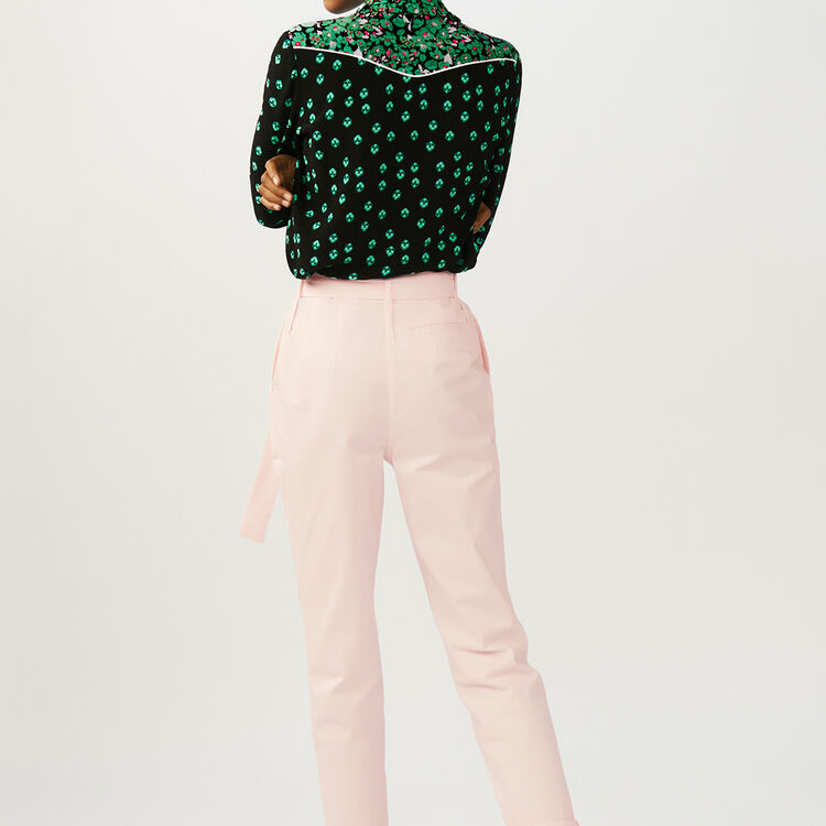 Low-slung belted pants : Pants & Jeans color Pale Pink