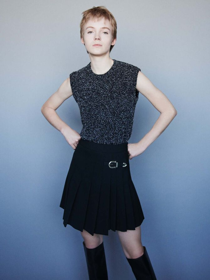 Pleated kilt-style skirt with buckle - Skirts & Shorts - MAJE
